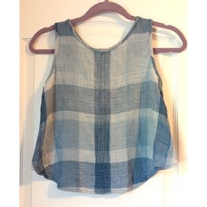 Anthropologie cloth & stone blue plaid crop top